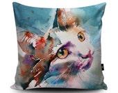 Cute Cat Vegan Cushion by Liz Chaderton | Kitten Cushion | Blue Cat Pillow | Pet Cat Cushion Cover | Cat Art Bedding | Cat Lovers Gift