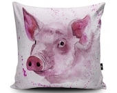Pig Cushion Pig Pillow Pig Cushion Cover Pig Pillow Case Pig Illustration Pig Watercolour Home Decor by Katherine Williams