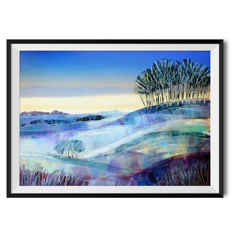 Winter Copse Print by Clare Buchta Scenic Art Countryside Art Print Beautiful Landscape Wall Art Landscape Home Decor Illustration
