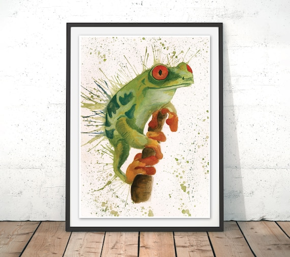 Frog Illustration Frog Art Print Frog wall art Toad Print Frog   Etsy
