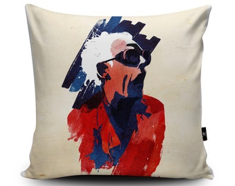 Back to the Future Vegan Cushion by Robert Farkas | Doc Emmett Brown Pillow | Back to the Future Birthday Gift | Doc Brown Throw Cushion
