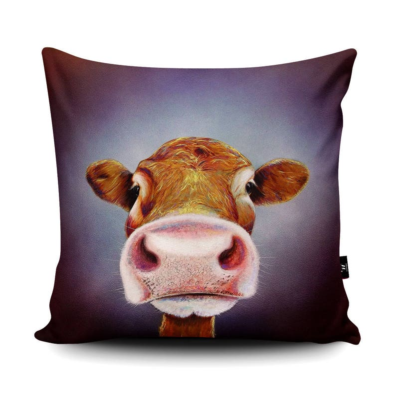 9698fe39e1ceb Nosey Cow Faux-Suede Cushion by Adam Barsby Funny Cow Selfie   Etsy
