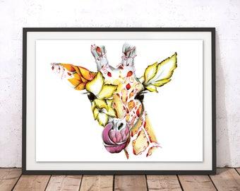Decorative Giraffe Art Print, Floral Giraffe Art Poster, Colourful Giraffe Flowers Print, Giraffe Illustration, Giraffe Drawing by Kat