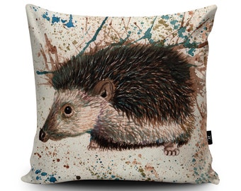 Hedgehog Vegan Cushion by Katherine Williams | Hedgehog Pillow | Hedgehog painting cushion Cover | Wildlife Decor | Multiple Sizes