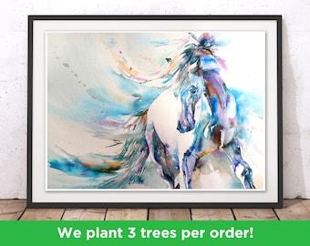 Horse Print, Horse Wall Art, Stallion Painting, Horse Painting, Horse Watercolour Wall Hanging, Blue Horse by Liz Chaderton