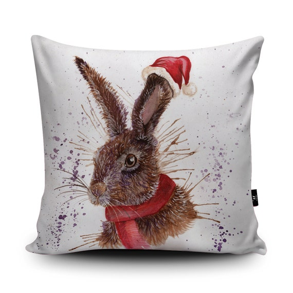 Christmas Hare Illustration Soft Cushion By Katherine Williams Etsy