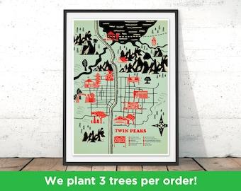 Twin Peaks Print, Twin Peaks Illustration, Twin Peaks Map Gift, Twin Peaks Design, Twin Peeks Geek Poster by Robert Farkas