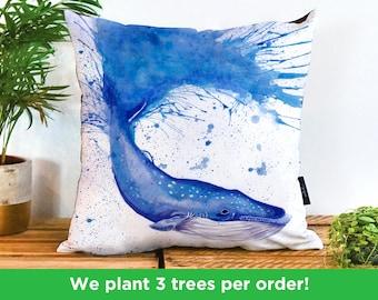 Blue Whale Handmade Cushion by Katherine Williams   Whale Pillow   Blue Whale Cushion Cover   Whale Pillow Case   Sea Ocean Marine Pillow