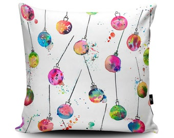 Christmas Baubles Cushion by Ninola | Xmas Decoration Cushion | Christmas Cushion Cover | Seasonal Throw Cushion