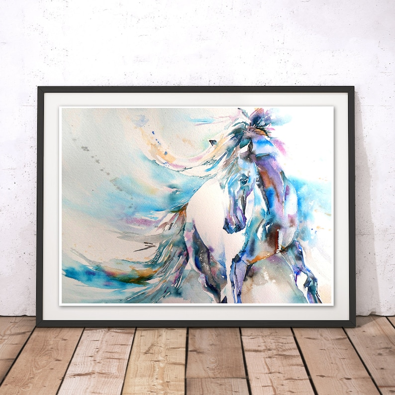 Horse Print Horse Wall Art Stallion Painting Horse Painting Horse Watercolour Wall Hanging Blue Horse By Liz Chaderton