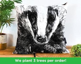 Charcoal Badger Vegan Cushion by Bex Williams | Black and White Badger Pillow | Hufflepuff Cushion | Badger Illustration Sofa Decor