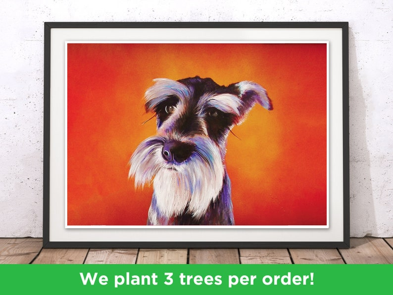 Schnauzer Dog Print Doggy Love Schnauzer Art Print Dog Illustration Pup Picture by Adam Dog Art with Frame Colorful Puppy Poster