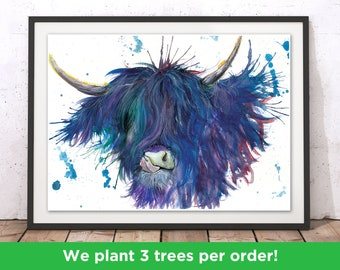 Highland Cow Blue Art Print by Katherine Williams   Scottish Cow Wall Art   Buffalo Print   Highland Cow Home Decor Illustration   Blue Cow