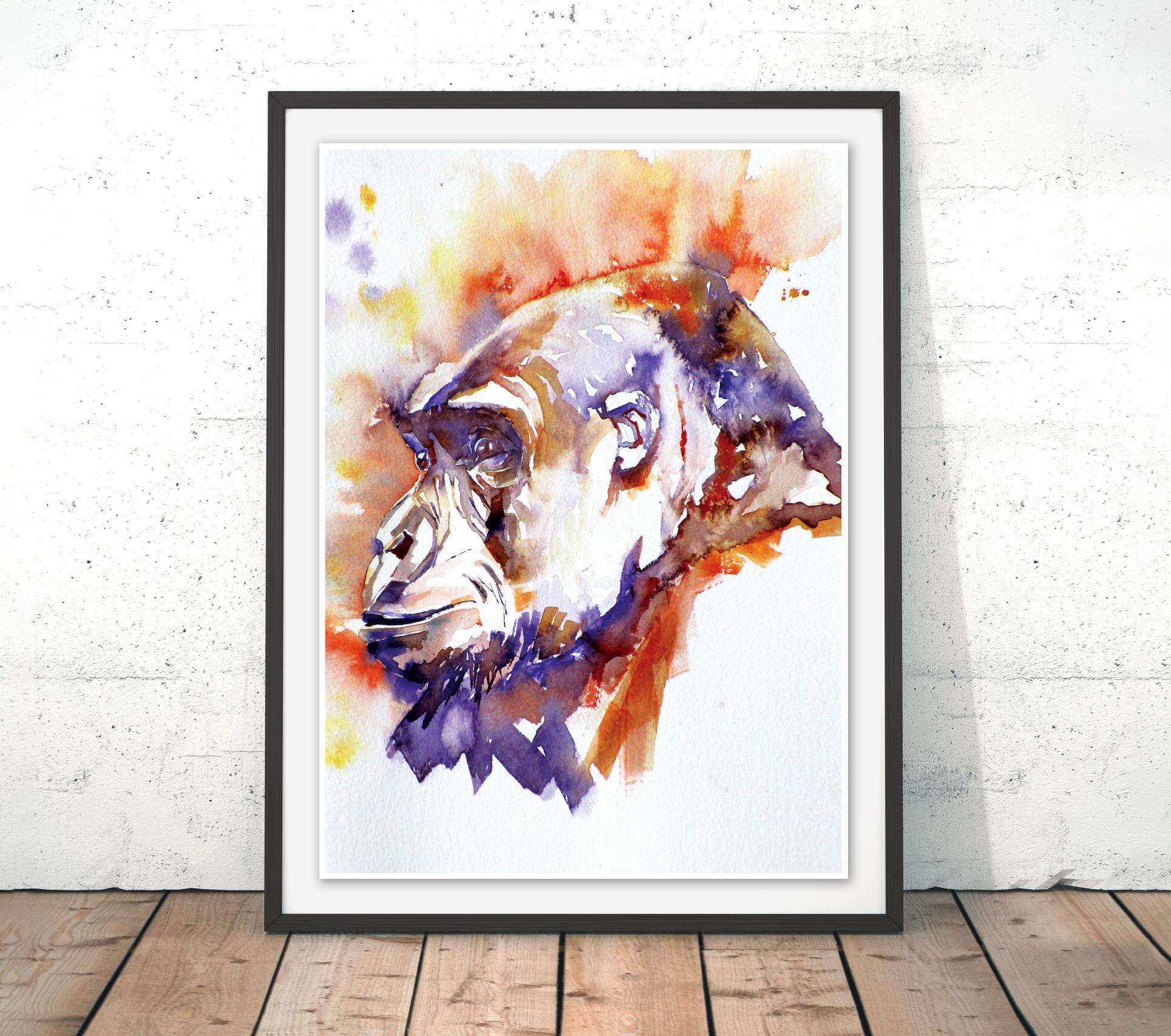 Lámina acuarela gorila gorila púrpura y naranja pared arte | Etsy