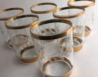Vintage Gold Trim Etched Bar Glass Set of 6  Delicate Glass Unique Formal Barware