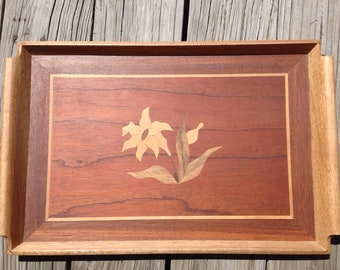Lovely Inlaid Wood Tray Flower Inlay