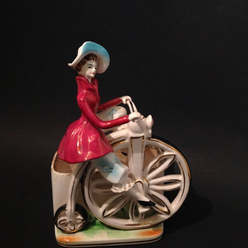 Penny Farthing Planter With Lady In Petticoat Planter High Etsy