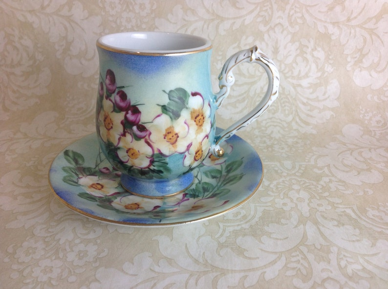 Lovely Hand Painted Teacups With Matching Saucers Stunning Blue with White Flowers  Cottage Chic Shabby Chic Decor