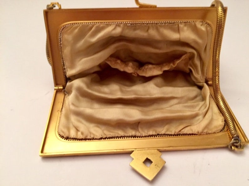 1920/'s Fine Chain Mesh Flapper Purse Unique Art Deco Design and Clasp Roaring 20/'s Whiting and Davis Style Flapper Antique Purse Hollywood