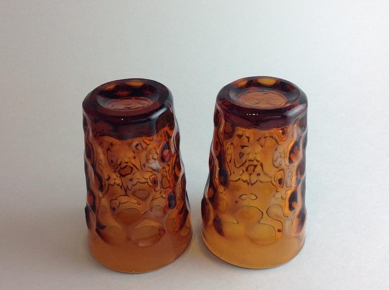 Set of 2 Vintage Deep Amber Honeycomb Juice Glasses Thumbprint Design Very Heavy Glass Retro Drinking Glasses Mid Century Dining