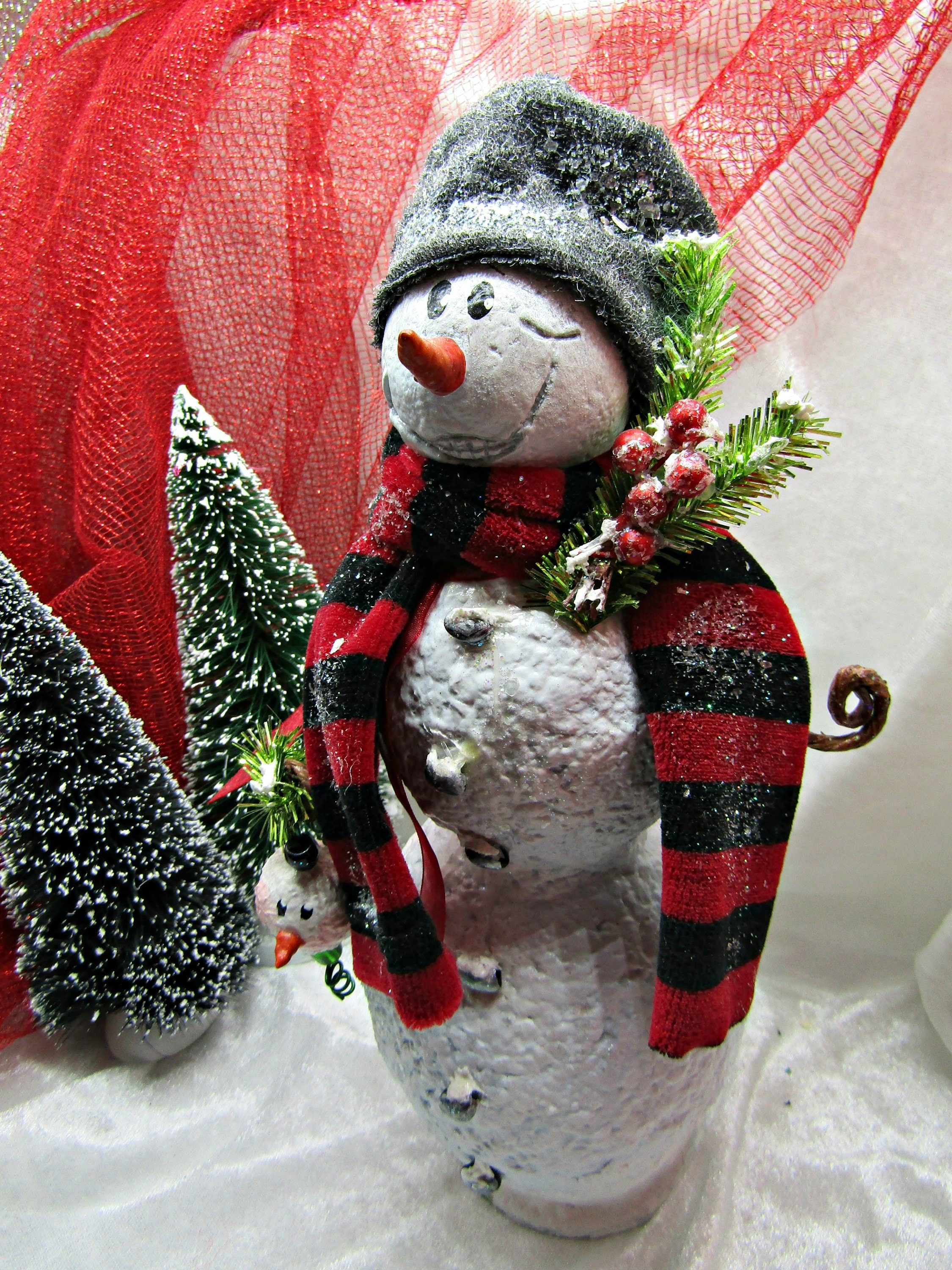 Snowman Papier Mache Large One of a kind (OOAK) Jolly Christmas or ...