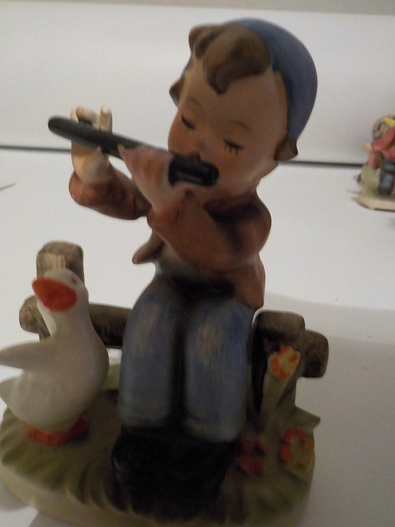 Vintage Napco Boy On Bench Playing Flute C7655 Hummel Like Porcelain Figurine Free USA Shipping