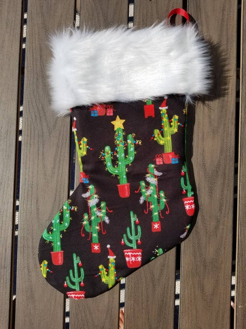 Christmas cactus fully lined with faux fur trim 17 inch Christmas stocking