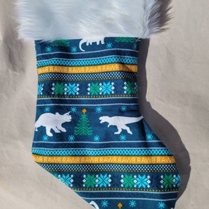 17 inch Christmas dinosaur blue fully lined fur trimmed stocking