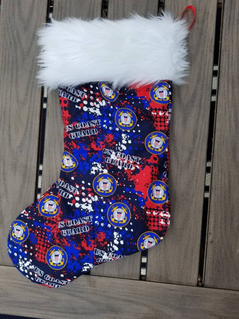 Coast guard military fully lined faux fur trimmed 16 inch Christmas stocking