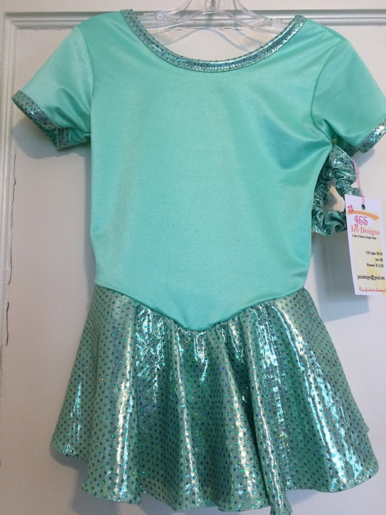 be94fbc246 FREE SHIPPING Girls size 6X 7 ice figure skating dress mint green practice  competition holiday show Celtic Princess Tiana roller baton twirl