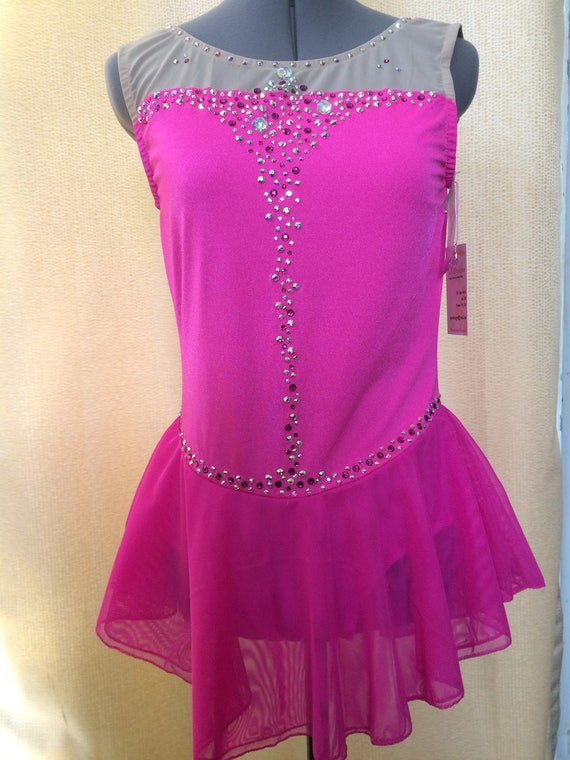 New Competition Figure Skating Dress Purple White  100/'s AB Crystals Adult Small