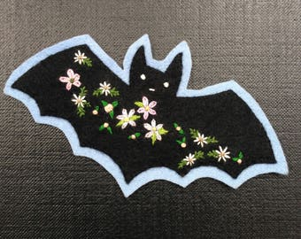 Black Blossom Bat Hand-Embroidered Felt Patch