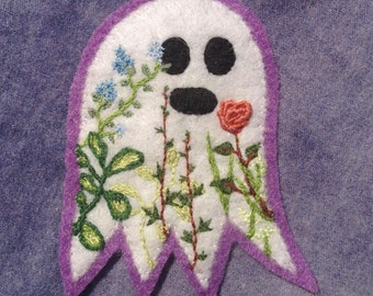 Ghost Garden Hand-Embroidered Felt Patch