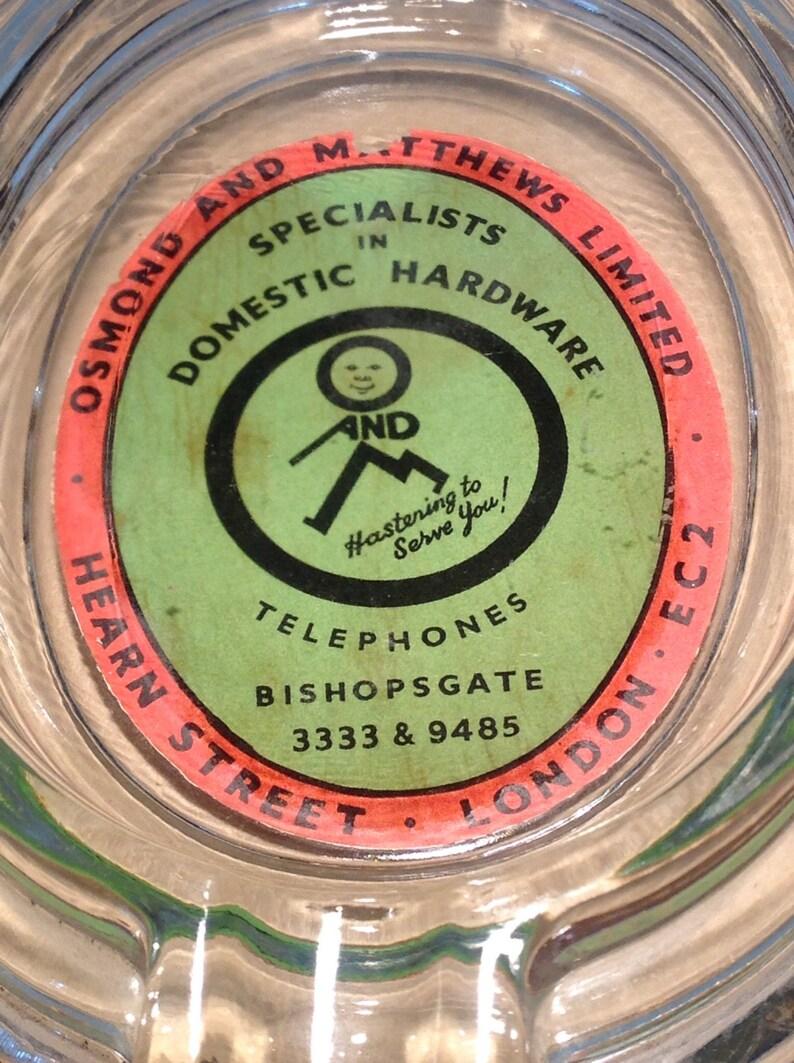 WW2 Period Hardware Store Promotional Glass Ashtray Art Deco Glass Ashtray WW2 Memorabilia Man CaveWorkshop Decor. 1930s Retro Glass