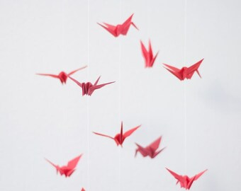 Mobile with Cranes made of korean paper red