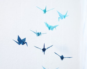 Mobile with Cranes made of korean paper blue