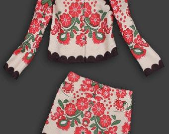 Sales - Russian Folk Printed Wool Set of Skirt & Jacket - XS US 0 2