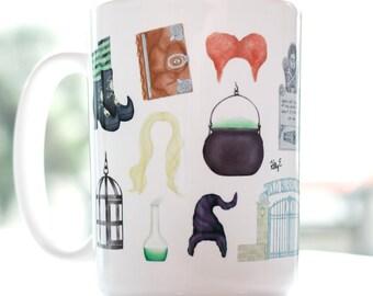 Hocus Pocus inspired coffee mug // cute Halloween gift, watercolor art mug, Sanderson sisters