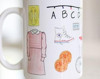 597300784b8 Stranger Things coffee mug // original watercolor art inspired by Stranger  Things