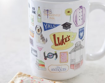 Gilmore Girls inspired coffee mug // cute gift, blogger, watercolor art mug, Gilmore Girls fan gift mug
