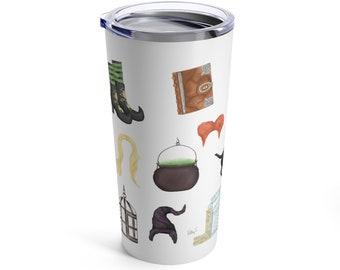Hocus Pocus inspired stainless steel tumbler travel mug // cute Halloween gift, watercolor art mug, Sanderson sisters