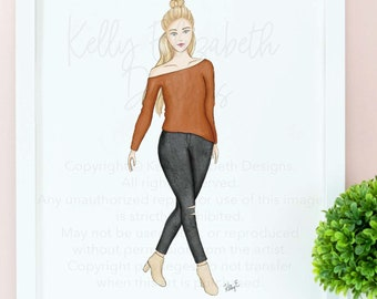 Autumn Stroll (choice of skin tone) watercolor art print poster // cute, fall, autumn, blogger, cute gift