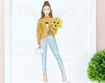 Golden Fall Girl (choice of skin tone) watercolor art print poster // cute, fall, autumn, blogger, cute gift