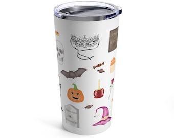 Halloween watercolor stainless steel tumbler travel mug // cute Halloween gift, halloween, trick or treat, ghost, blogger, fall, autumn