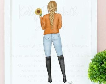 Autumn Dreaming (choice of skin tone) watercolor art print poster // cute, fall, autumn, blogger, cute gift