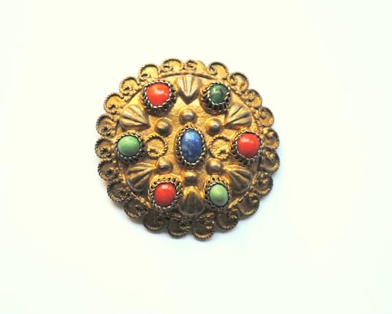 Antique Silver and Gemstones Brooch