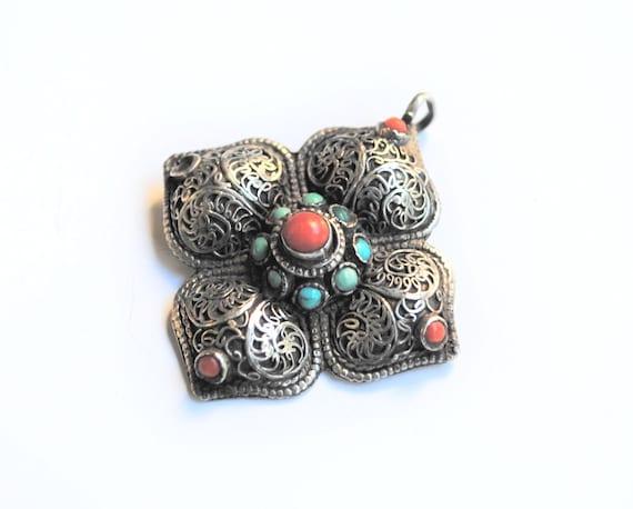 Antique Silver and Gemstones Pendant