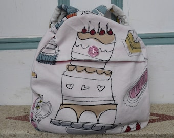 Tea and cakes handmade toddler backpack - sewn - nappy bag - holiday - days out - travel - pre-school - kids children