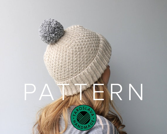 PATTERN LISTING Moss Stitch Hat Slouchy Beanie   Toque    ea301c8e896