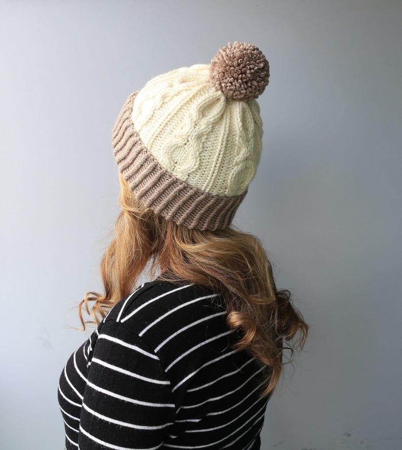 Wool /& Acrylic Hat  Big Yarn Pom Pom  Slouchy Beanie White-Taupe XOXO Hat READY to SHIP